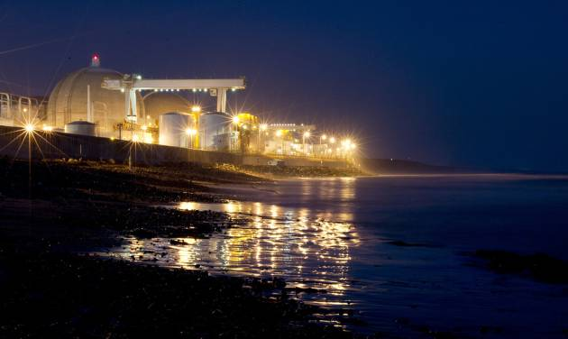 In this Sept. 13, 2012 photo the San Onofre nuclear power plant sits along Pacific Ocean coastline in San Onofre, Calif. The operator of California's troubled San Onofre nuclear power plant on Thursday Oct. 4, 2012 proposed to restart one of the plant's twin reactors, more than eight months after the seaside plant was shut down following a break in a tube carrying radioactive water. (AP Photo/Gregory Bull)