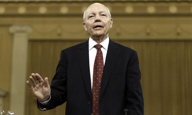 Internal Revenue Service Commissioner John Koskinen is sworn in on Capitol Hill in Washington, Friday, June 20, 2014, prior to testifying before the House Ways and Means Committee hearing on whether tea party groups were improperly targeted for increased scrutiny by the IRS. The IRS asserts it can't produce emails from seven officials connected to the tea party investigation because of computer crashes, including the emails from Lois Lerner, the former IRS official at the center of the investigation who has invoked her Fifth Amendment right at least nine times to avoid answering lawmakers' questions.   (AP Photo/J. Scott Applewhite)