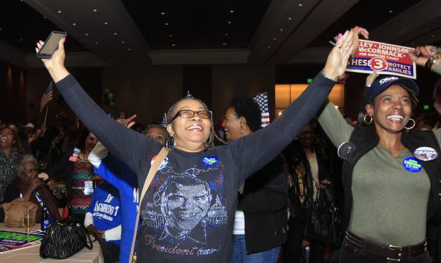Anita Flanigan, left, and Renee Drake celebrate as President Obama reaches the 270 Electoral College votes during the Michigan Democratic election night party at the MGM Grand Detroit, following Election Day, early Wednesday, Nov. 7, 2012. (AP Photo/Carlos Osorio)