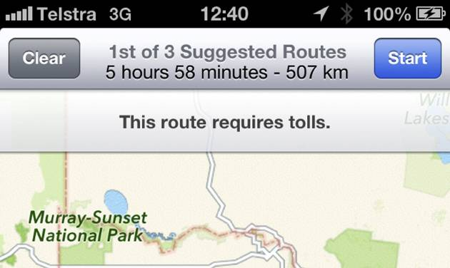 """This screen shot taken Tuesday, Dec. 11, 2012, of an iPhone's Apple mapping application shows the service placing the city of Mildura  70 kilometers (44 miles) away in the Murray Sunset National Park, a desert-like 5,000 square kilometer (1,900 square mile) region with scorching temperatures and virtually no mobile phone reception. Australian police are warning the public that errors in Apple's much-maligned mapping application are leading drivers headed to the southern city to take a potentially """"life-threatening"""" wrong turn into the middle of a remote state park.  (AP Photo)"""