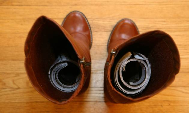 Rolled-up magazines are a great way to keep boots standing tall. (Sally McGraw/Minneapolis Star Tribune/MCT)