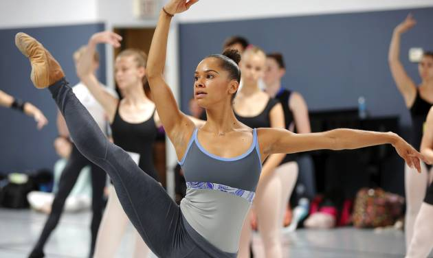 Celebrated ballet dancer Misty Copeland, only the third black female soloist in the history of American Ballet Theatre, visited Oklahoma City on Tuesday to teach a master class for aspiring ballet dancers at the Oklahoma City Ballet studios.                       Photo by Jim Beckel, The Oklahoman