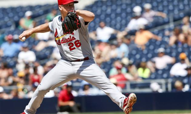 St. Louis Cardinals relief pitcher Trevor Rosenthal closes out the 6-2 victory over the San Diego Padres in the ninth inning of a baseball game Thursday, July 31, 2014, in San Diego.  (AP Photo/Lenny Ignelzi)