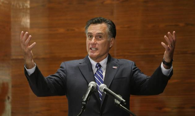 Republican presidential candidate and former Massachusetts Gov. Mitt Romney speaks at a campaign fundraising event at Red Rock Hotel and Casino in Las Vegas, Friday, Sept. 21, 2012. (AP Photo/Charles Dharapak)