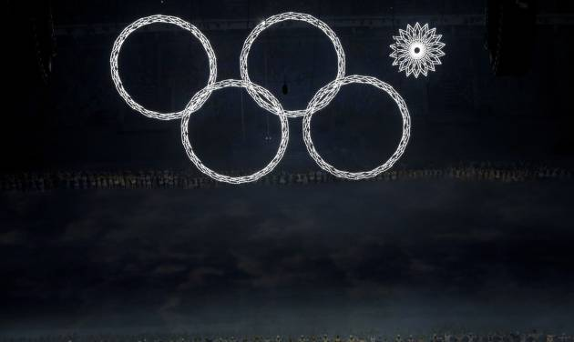 One of the Olympic rings fails to open during the opening ceremony of the 2014 Winter Olympics in Sochi, Russia, Friday, Feb. 7, 2014. (AP Photo/David J. Phillip )