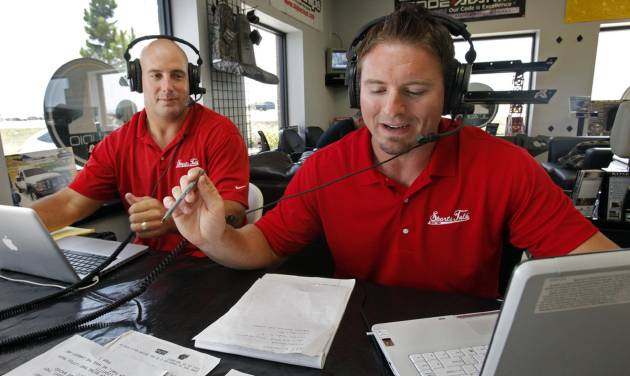 former University of Oklahoma (OU) football players Dusty Dvoracek and Teddy Lehman doing their radio program  on Tuesday, July 17, 2012 in Norman, Okla.  Photo by Steve Sisney, The Oklahoman