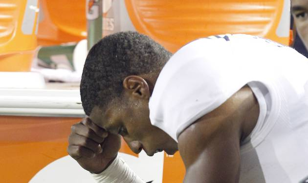 UCLA wide receiver Shaquelle Evans (1) reacts on the sidelines after a 43-17 lose against California in a NCAA college football game in Berkeley, Calif., Saturday, Oct. 6, 2012. (AP Photo/Tony Avelar)