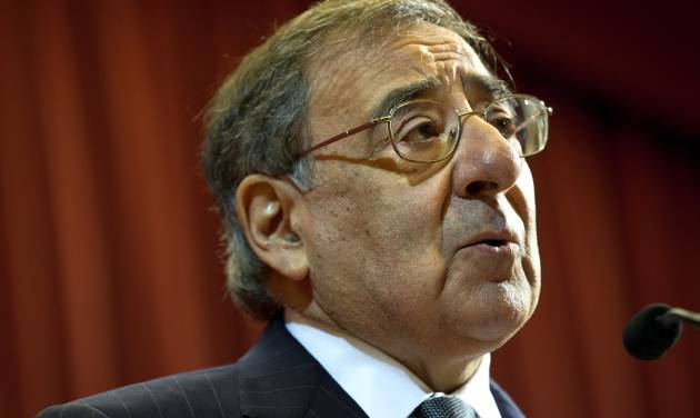"""U.S. Defense Secretary Leon Panetta speaks about the situation in Algeria, at the start of his remarks at King's College in London on Friday, Jan. 18, 2013, saying there will be """"no quarter for terrorists in North Africa."""" (AP Photo/Jacquelyn Martin)"""
