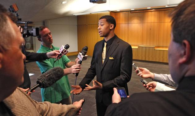 Trey Burke speaks with the media at the Devon Energy College Basketball Awards banquet at the National Cowboy & Western Heritage Museum in Oklahoma City, Monday, April 15, 2013. Photo By David McDaniel/The Oklahoman