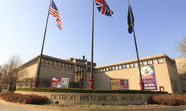The Detroit Historical Museum in Detroit is seen Wednesday, Nov. 21, 2012. The museum is reopening with a bang, six months after the venerable institution in the city's cultural center closed up shop to undergo its first major renovation in a half-century. Starting at 9:30 a.m. on Friday, the museum will stay open for 55.5 consecutive hours free of charge to anyone who wants to come in and take a look. (AP Photo/Carlos Osorio)