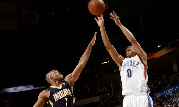 Oklahoma City's Russell Westbrook takes a shot over Indiana's Jarrett Jack during the NBA basketball game between the Indiana Pacers and the Oklahoma City Thunder at the Ford Center in Oklahoma City, Sunday, April 5, 2009. Photo by John Clanton, The Oklahoman