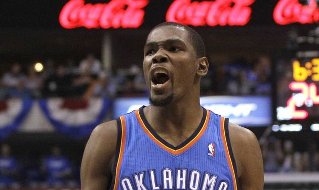 Oklahoma City Thunder Kevin Durant (35) yells after his team took the lead in the fourth quarter against the Dallas Mavericks during Game 4 in a first-round NBA basketball playoff series, Saturday, May 5, 2012, in Dallas. The Thunder won 103-97. (AP Photo/LM Otero)