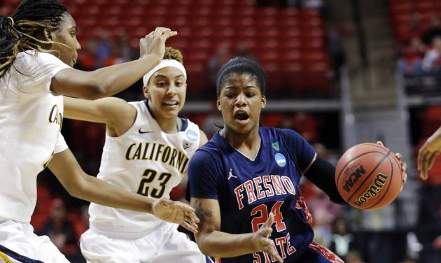 Fresno State guard Ki-Ki Moore (24) dribbles against California forward Reshanda Gray, left, and guard Layshia Clarendon (23) during the first half of a first-round game in the women's NCAA college basketball tournament in Lubbock, Texas, Saturday, March 23, 2013. (AP Photo/LM Otero)
