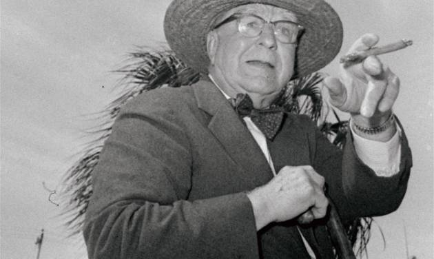 "FILE - This 1963 file photo shows Branch Rickey shown dressed for southern climates when he joined the Cardinals in Florida.  The home area of the late baseball executive Rickey expects increased interest in his southern Ohio roots from his depiction in the movie ""42,"" in which Harrison Ford plays the man who signed Jackie Robinson to challenge baseball's color line. (AP Photo/File)"