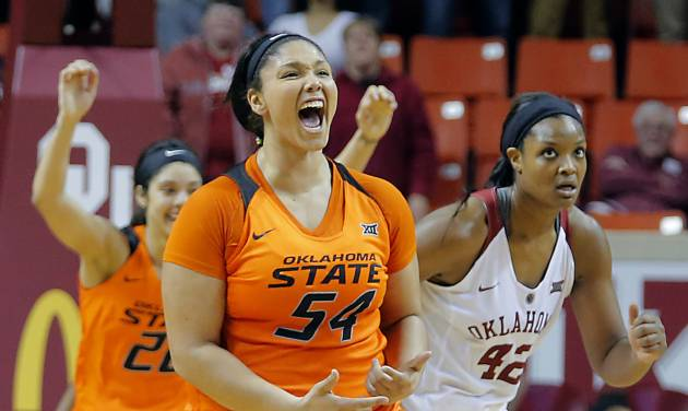 Oklahoma State's Kaylee Jensen (54) reacts after hitting a three point shot late in the second half of the Cowgirls 71-69 win in the women's NCAA basketball game between the University of Oklahoma (OU) Sooners and the Oklahoma State University Cowgirls (OSU) at the Lloyd Noble Center on Wednesday, Feb. 3, 2016, in Norman, Okla. Photo by Chris Landsberger, The Oklahoman