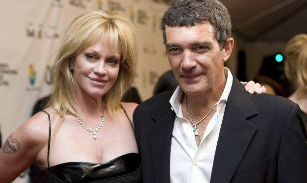 """FILE - This Sept. 7, 2008 file photo shows actors Antonio Banderas, right, and his wife Melanie Griffith at the Gala premier of """"The Other Man"""" at the Toronto International Film Festival in Toronto. Griffith filed for divorce from Banderas on Friday June 6, 2014 in Los Angeles, citing irreconcilable differences as the reason for the end of their 18-year marriage. (AP Photo/Jonathan Hayward, CP, FIle)"""