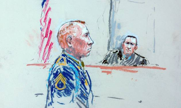 CORRECTS SPELLING OF ARTIST'S LAST NAME TO MILLETT INSTEAD OF MILLET - In this courtroom sketch, Staff Sgt. Robert Bales, left, appears before Judge Col. Jeffery Nance in a courtroom at Joint Base Lewis-McChord, Wash. on Tuesday, Aug. 20, 2013, during a sentencing hearing in the slayings of 16 civilians killed during pre-dawn raids on two villages on March 11, 2012. Haji Mohammad Naim, an Afghan farmer shot during a massacre in Kandahar Province last year, took the witness stand Tuesday against Bales, who attacked his village, cursing him before breaking down and pleading with the prosecutor not to ask him any more questions.  (AP Photo/Peter Millett)