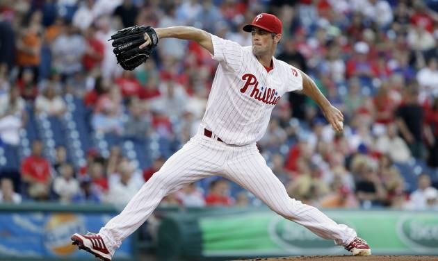 Philadelphia Phillies' Cole Hamels pitches in the first inning of a baseball game against the New York Mets, Friday, June 21, 2013, in Philadelphia. (AP Photo/Matt Slocum)