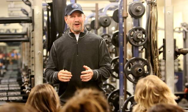 Bill Cowher talks with parents at a clinic at Southmoore High school for two teams from the Oklahoma Elite Football League Wednesday, November 20, 2013. Photo by Doug Hoke, The Oklahoman