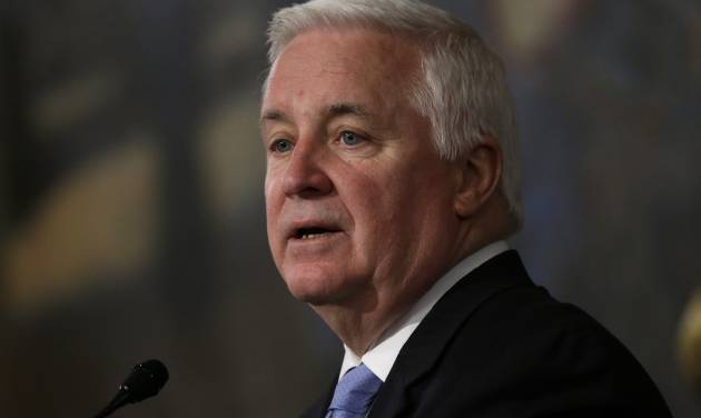 Gov. Tom Corbett delivers his budget proposal for the fiscal year 2013-2014 to a joint session of the Pennsylvania House and Senate on Tuesday, Feb. 5, 2013, in Harrisburg, Pa. (AP Photo/Matt Rourke)