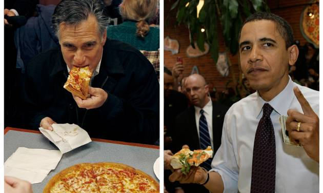 "In this combination of file photos, Republican presidential candidate former Mass. Gov. Mitt Romney, left, takes a bite of pizza during lunch with his wife Ann while campaigning at Village Pizza in Newport, N.H., Dec. 20, 2011, and then-Senator Barack Obama, right, takes a bite of pizza at American Dream Pizza in Corvallis, Ore., March 21, 2008. Pizza Hut is offering a lifetime of free pizza, one large pie a week for 30 years, or a check for $15,600 to anyone who poses the question ""Sausage or pepperoni?"" to either President Barack Obama or Republican candidate Mitt Romney during the live Town Hall-style debate next Tuesday, Oct. 16, 2012. (AP Photo)"