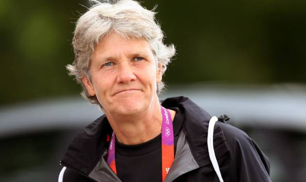 """FILE - This Aug. 2, 2012 file photo shows U.S. women's soccer head coach Pia Sundhage arriving at a soccer practice for the 2012 London Summer Olympics at Cochrane Park in Newcastle, England. After leading the team to two Olympic gold medals and its first spot in a World Cup final in more than a decade, Sundhage is stepping down. Saturday's announcement of Sundhage's departure came just a few hours before the Americans kicked off their """"victory tour"""" to celebrate their gold medal at the London Olympics, where the Americans beat Japan 2-1 in a rematch of last year's World Cup final. The search for a new coach will begin immediately. (AP Photo/Scott Heppell, File)"""