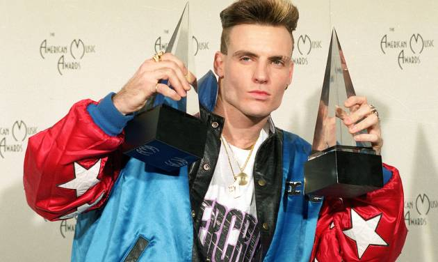 "**FILE** Vanilla Ice displays his awards he won in the rock and rap catagories at the American Music Awards in this Jan. 28, 1991 file photo. The 36-year-old rap performer, who had a '90s hit with ""Ice Ice Baby,"" called animal control officials Wednesday to report that a wallaroo and a goat found wandering around Port St. Luciem Florida belong to him. (AP Photo/Reed Saxon)"