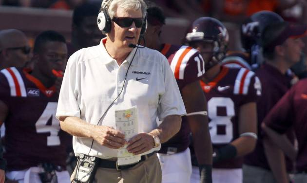 In this photo taken Sept. 7, 2013, Virginia Tech head foach Frank Beamer watches his team during an NCAA college football game against Western Carolina in Blacksburg Va. (AP Photo/The Roanoke Times, Matt Gentry) LOCAL TV OUT; SALEM TIMES REGISTER OUT; FINCASTLE HERALD OUT;  CHRISTIANBURG NEWS MESSENGER OUT; RADFORD NEWS JOURNAL OUT; ROANOKE STAR SENTINEL OUT MBI