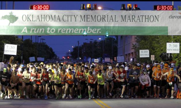 RUN / RUNNERS / RUNNING: Runners start the Oklahoma City Memorial Marathon in Oklahoma City, Sunday, April 29, 2012. Photo by Bryan Terry, The Oklahoman