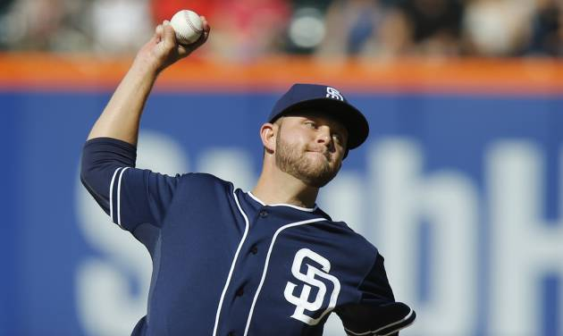 San Diego Padres' Jesse Hahn delivers a pitch during the first inning of a baseball game against the New York Mets, Saturday, June 14, 2014, in New York. (AP Photo/Jason DeCrow)