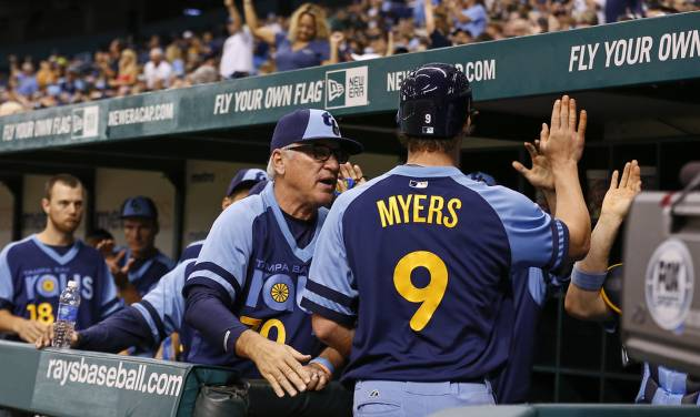 Tampa Bay Rays manager Joe Maddon, left, congratulates Wil Myers after he scored during the sixth inning of a baseball game against the Chicago White Sox Saturday, July 6, 2013, in St. Petersburg, Fla. (AP Photo/Mike Carlson)