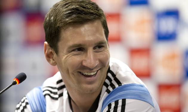 Argentina's Lionel Messi listens to a question at a news conference after a training session in Vespasiano, near Belo Horizonte, Brazil, Monday, June 16, 2014. Argentina plays in group F of the 2014 soccer World Cup. (AP Photo/Victor R. Caivano)