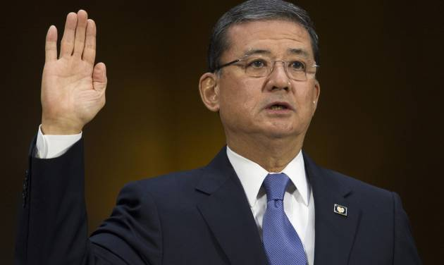 Veterans Affairs Secretary Eric Shinseki is sworn in on Capitol Hill in Washington, Thursday, May 15, 2014, prior to testify before the Senate Veterans Affairs Committee hearing to examine the state of Veterans Affairs health care. (AP Photo/Cliff Owen)