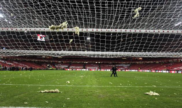 Pieces of debris fallen from the roof of the stadium rest over the pitch and the goal's net, prior the Portuguese league soccer match between Benfica and Sporting at Benfica's Luz stadium, in Lisbon, Sunday, Feb. 9, 2014. Strong winds damaged the stadium roof before kick off and debris fell on the pitch and stands. It was decided the match should be postponed for security reasons. (AP Photo/Francisco Seco)