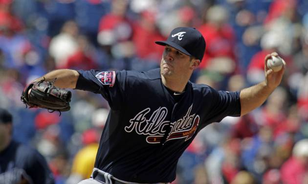 Atlanta Braves starting pitcher Alex Wood throws against the Philadelphia Phillies in the first inning of a baseball game Thursday, April 17, 2014, in Philadelphia. (AP Photo/H. Rumph Jr)