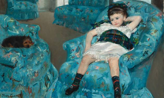 """This image provided by the National Gallery of Art shows Mary Cassatt's 1978 oil painting """"Little Girl in a Blue Armchair."""" The painting is a centerpiece of the new exhibit and shows the collaboration between Degas and Cassatt. During an extensive conservation of Cassatt's paining """"Little Girl in a Blue Armchair"""" last year, the museum used x-rays and infrared imagery to reveal changes Degas made under the surface of Cassatt's picture. (AP Photo/National Gallery of Art)"""