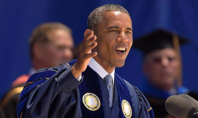 President Barack Obama delivers the commencement address for the University of California, Irvine, Saturday, June 14, 2014, in Anaheim, Calif. Obama told the graduating class that today's young dreams are fed a steady diet of cynicism but argued they have a right to be optimistic.  (AP Photo/Mark J. Terrill)
