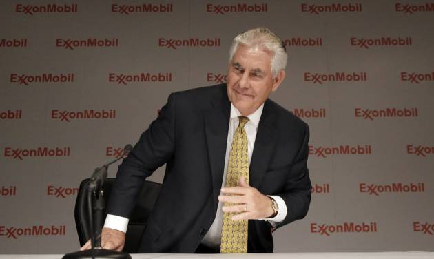 ExxonMobil CEO Rex Tillerson concludes an availability with reporters after the annual meeting ExxonMobil shareholders meeting in Dallas, Wednesday, May 28, 2014. (AP Photo/LM Otero)