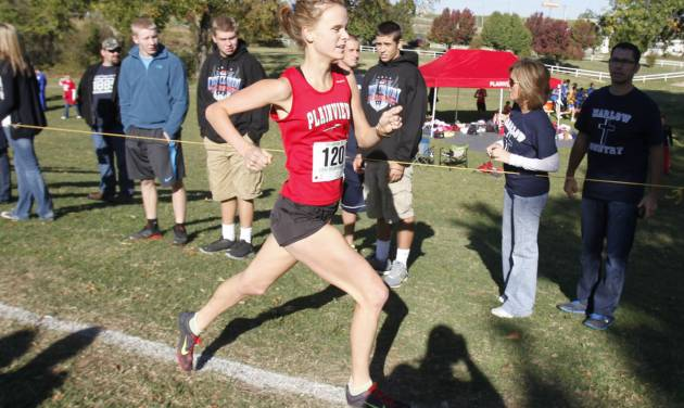 Plainview's Alex Davis takes an early lead during the class 3A girls State cross country meet at Gordon Cooper Vo-Tech in Shawnee, OK, Saturday, October 20, 2012. She went on to win the 3A meet.  By Paul Hellstern, The Oklahoman