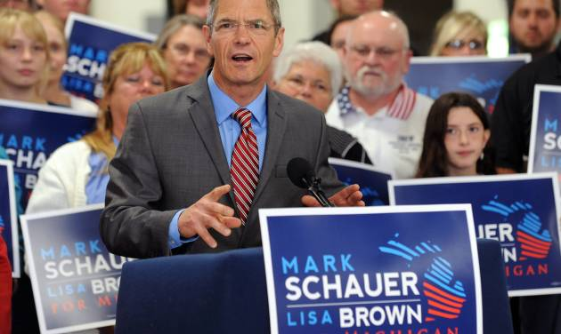 Democratic gubernatorial candidate Mark Schauer unveils his 10-point jobs plan at a news conference held at the Plumbers and Pipefitters Local 333 training facility in Lansing, Mich. on Tuesday, July 29, 2014. (AP Photo/Lansing State Journal, Greg DeRuiter)