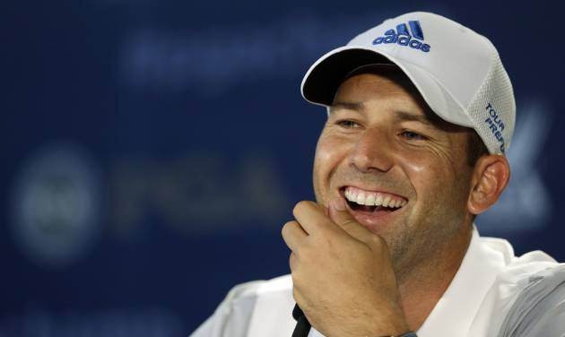 Sergio Garcia, of Spain, speaks to the media during a news conference at the PGA Championship golf tournament at Valhalla Golf Club on Wednesday, Aug. 6, 2014, in Louisville, Ky. The tournament is set to begin on Thursday. (AP Photo/Darron Cummings)