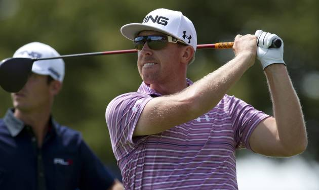 Hunter Mahan watches his drive on the eighth hole during the second round at the Canadian Open golf tournament at Glen Abbey in Oakville, Ontario, on Friday, July 26, 2013. (AP Photo/The Canadian Press, Frank Gunn) ORG XMIT: FNG115