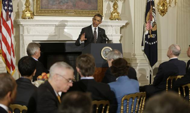 President Barack Obama addresses the National Governors Association, Monday, Feb. 25, 2013, in the State Dining Room of the White House in Washington. (AP Photo/Charles Dharapak)