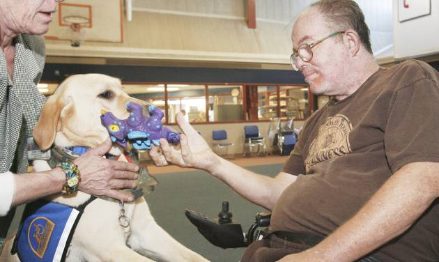 Vietnam Marine veteran Dale Bruyere works with Ascot, a therapy dog, with creative arts therapist Dawn Truby on Thursday at the VA Medical Center.  PHOTO By  David McDaniel,  The Oklahoman