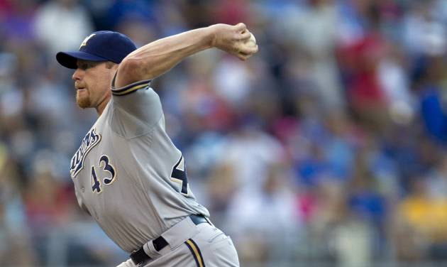 Milwaukee Brewers starting pitcher Randy Wolf (43) throws to Kansas City Royals' Alex Gordon during the first inning of a baseball game at Kauffman Stadium in Kansas City, Mo., Wednesday, June 13, 2012. (AP Photo/Orlin Wagner)