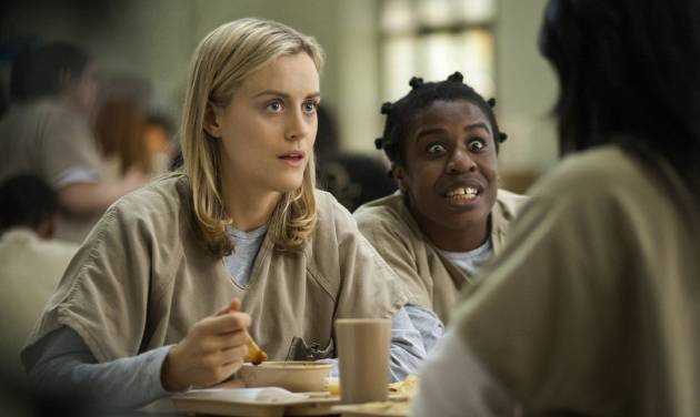 "FILE - This image released by Netflix shows Taylor Schilling, left, and Uzo Aduba in a scene from ""Orange Is the New Black."" Netflix reports quarterly earnings on Monday, July 21, 2014. (AP Photo/Netflix, Paul Schiraldi, File)"