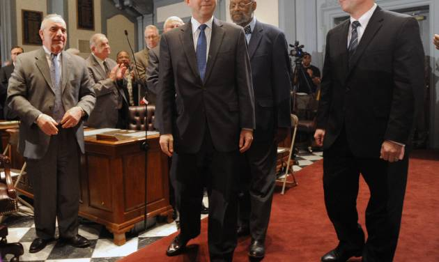 Delaware Gov. Jack Markell enters the Senate chamber to deliver his state of the state speech before a joint session of the General Assembly Thursday, Jan. 17, 2013 in Dover, Del. (AP Photo/The News Journal, Gary Emeigh)