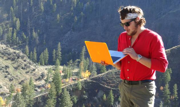 In this Fall 2013 photo provided by the University of Idaho, University of Wisconsin-Oshkosh student Bobby Theer works on a mountainside in the Frank Church-River of No Return Wilderness in Idaho. Theer is one of the university's first Semester in the Wild Class students. (AP Photo/University of Idaho)