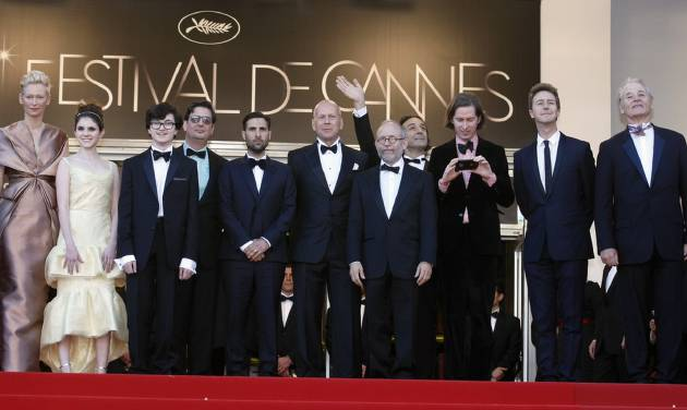From left actors, Tilda Swinton, Kara Hayward, Jared Gilman, screenwriter Roman Coppola, actors Jason Schwartzman, Bruce Willis, Bob Balaban, composer Alexandre Desplat, director Wes Anderson, actors Edward Norton and Bill Murray arrive for the opening ceremony and screening of Moonrise Kingdom at the 65th international film festival, in Cannes, southern France, Wednesday, May 16, 2012. (AP Photo/Lionel Cironneau)