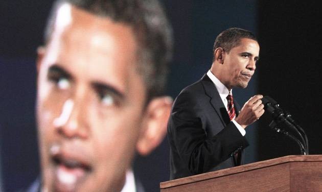 President-elect Barack Obama gives his acceptance speech Tuesday in Chicago Tuesday. AP PHOTO